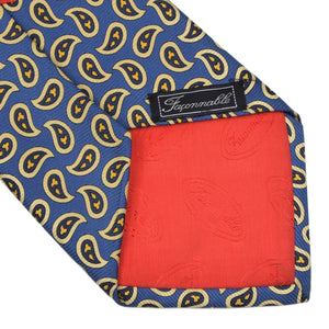 Faconnable Paisley Silk Tie - Blue/Yellow