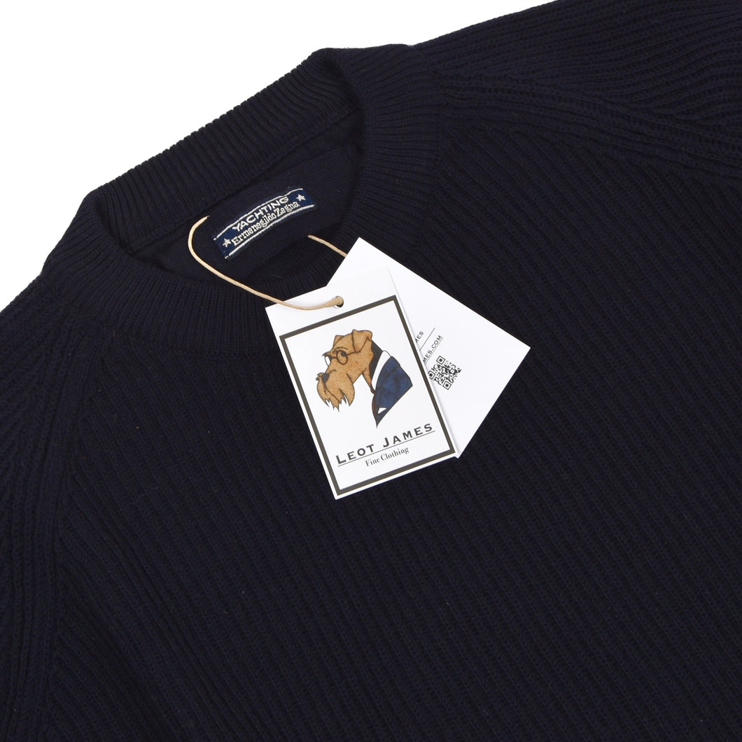 Ermenegildo Zegna Yachting Thick Wool Sweater Size XL - Navy Blue
