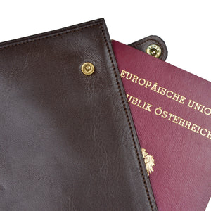 Snap-Closed Leather Passport Case/Wallet - Chocolate Brown