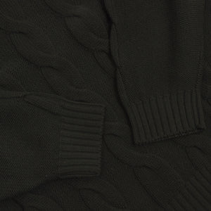 Ermenegildo Zegna Thick Cableknit Wool Sweater Size XL - Dark Green
