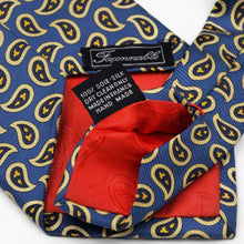 Load image into Gallery viewer, Faconnable Paisley Silk Tie - Blue/Yellow