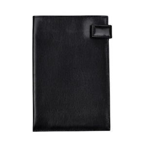 Snap-Closed Leather Passport Case/Wallet - Black