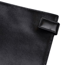 Load image into Gallery viewer, Snap-Closed Leather Passport Case/Wallet - Black