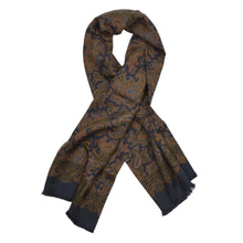 Load image into Gallery viewer, Classic Silk Dress Scarf - Navy Paisley