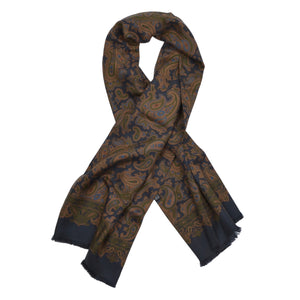 Classic Silk Dress Scarf - Navy Paisley