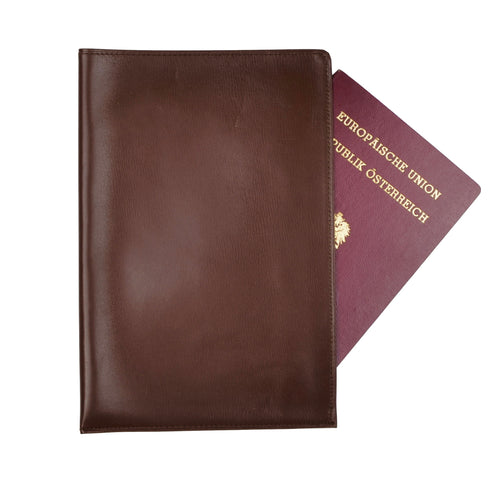 Unlined Leather Passport Case/Wallet - Brown