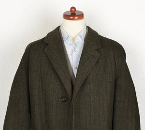 Bespoke Herringbone Robert's of Selkirk Tweed Overcoat - Forrest Green