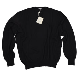 Gran Sasso V Neck Wool Sweater Size 56 - Black