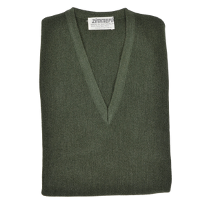 Zimmerli of Switzerland V-Neck Sweater Vest L - Moss Green