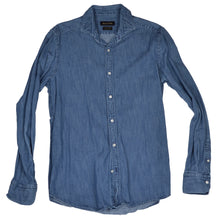 Load image into Gallery viewer, Massimo Dutti Denim Shirt Cutaway Collar Size M - Blue