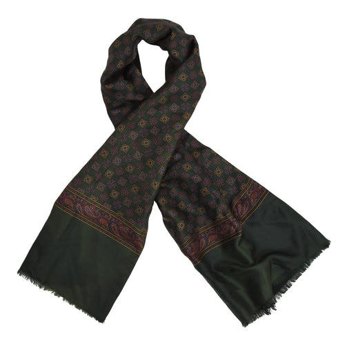 Classic Double-Sided Silk/Wool Dress Scarf - Green