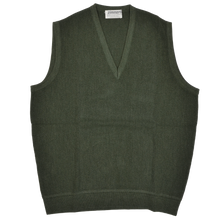 Load image into Gallery viewer, Zimmerli of Switzerland V-Neck Sweater Vest L - Moss Green