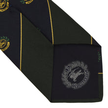 Load image into Gallery viewer, Burberrys Embroidered Crests Silk Tie - Blue Green Stripes