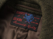 Load image into Gallery viewer, Bespoke Herringbone Robert's of Selkirk Tweed Overcoat - Forrest Green