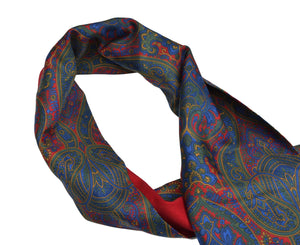 Doubled-Sided Silk/Wool Paisley Dress Scarf - Red