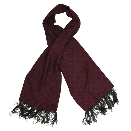 Anonymous Fringed Silk Dress Scarf - Burgundy