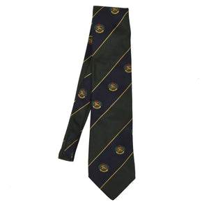 Burberrys Embroidered Crests Silk Tie - Blue Green Stripes