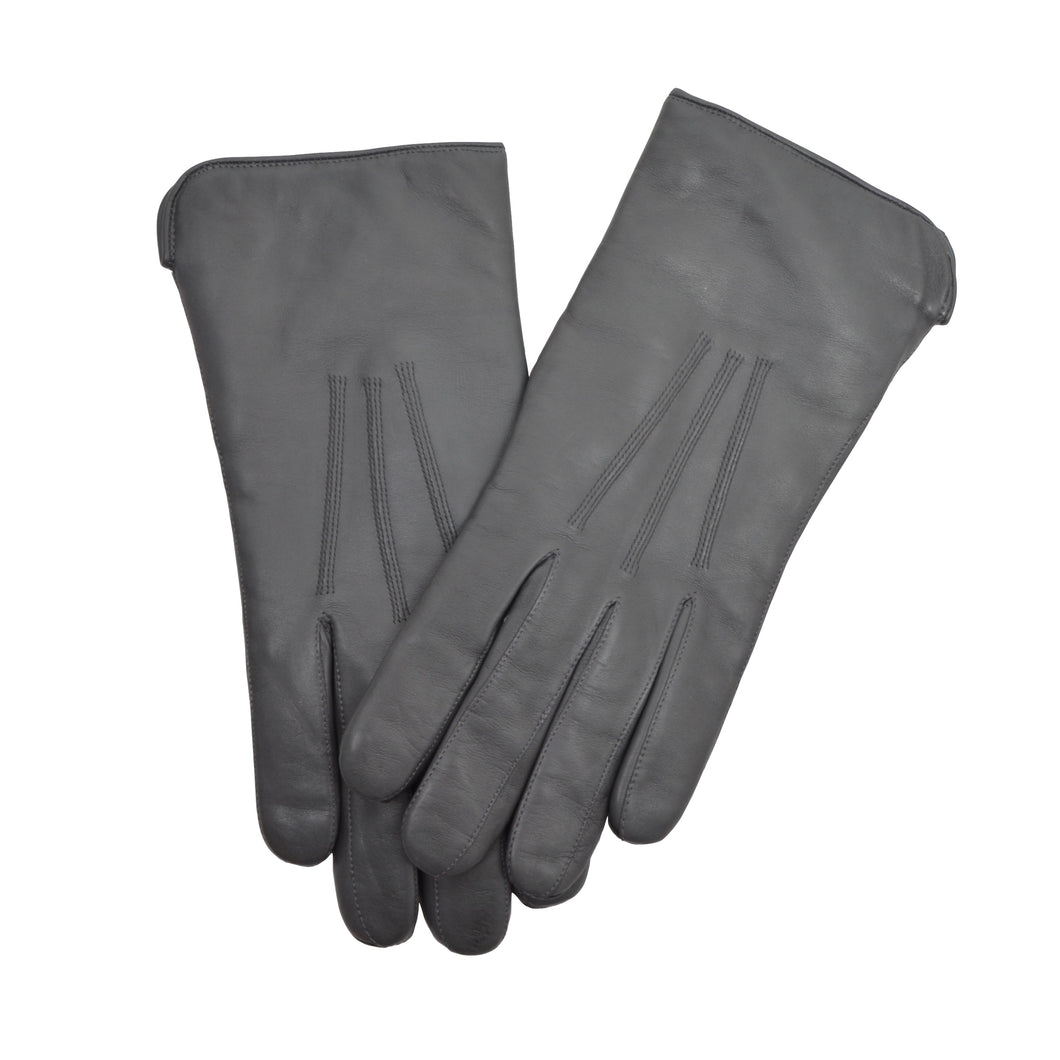 Lined Leather Dress Gloves - Grey
