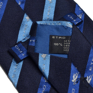 Etro Milano Logo Striped Tie - Navy