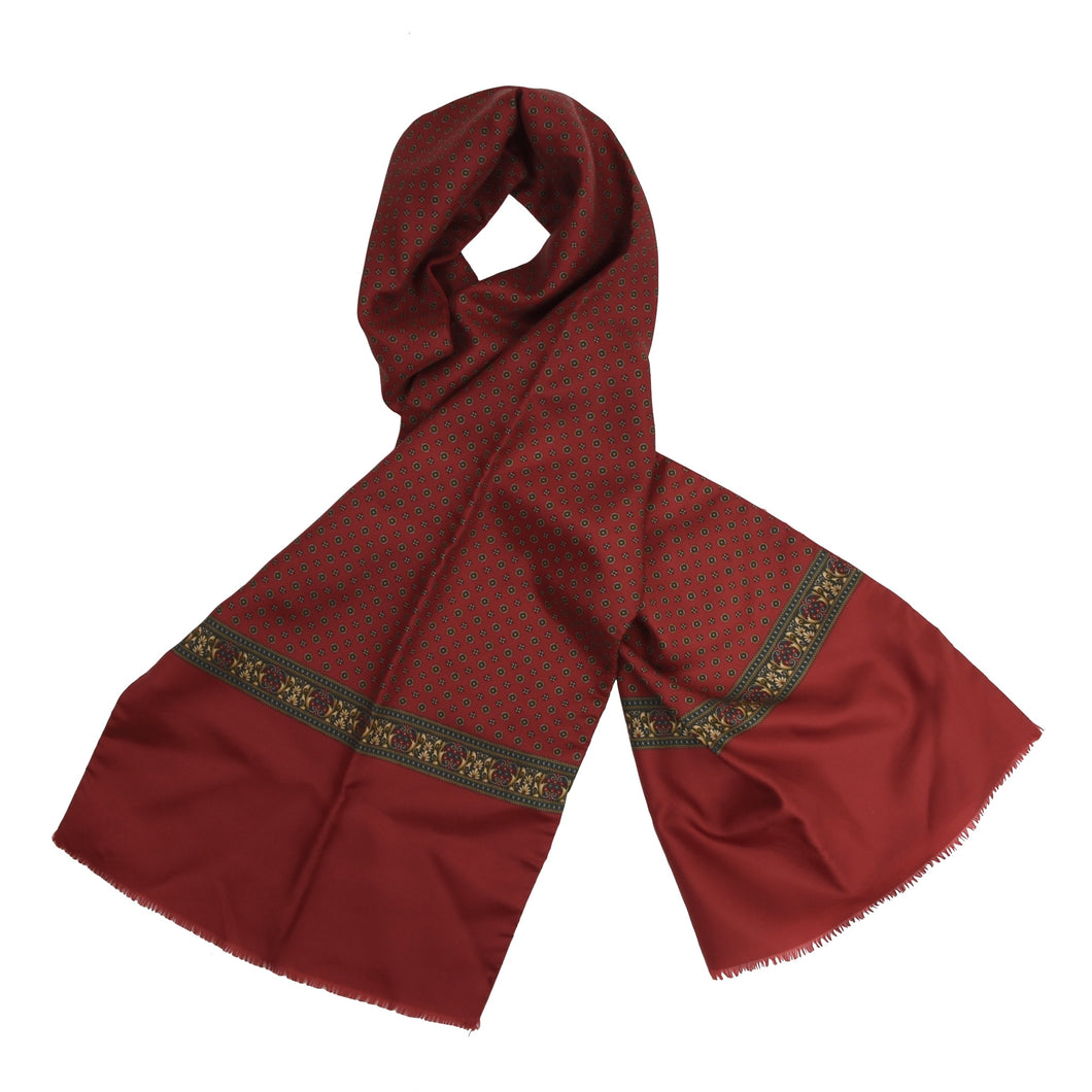 Classic Double-Sided Silk/Wool Dress Scarf - Red