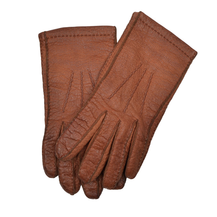 Lined Peccary Gloves  - Rust Brown