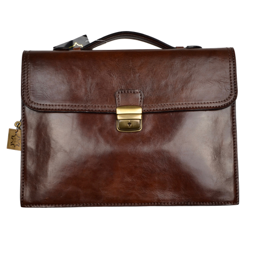 Rustic Leather Satchel/Briefcase Made in Italy - Brown