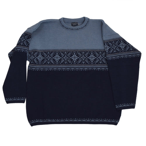 Active Wear of Norway Thick Wool Sweater Size XXL - Navy/Light Blue