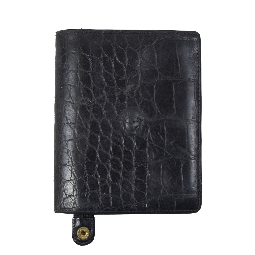 Vintage Gianni Versace '90s Faux Crocodile Wallet - Black