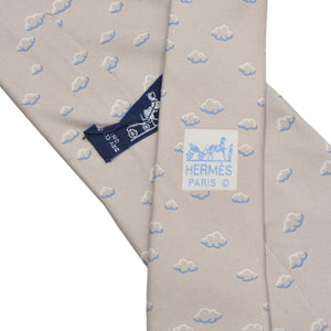 Hermès Paris Silk Tie 5181 IA - Champagne Clouds