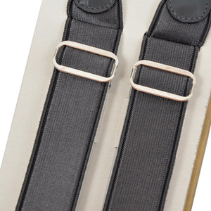 2 Pairs of Vintage Domino Braces/Suspenders Size 110 - Champagne/Dark Grey