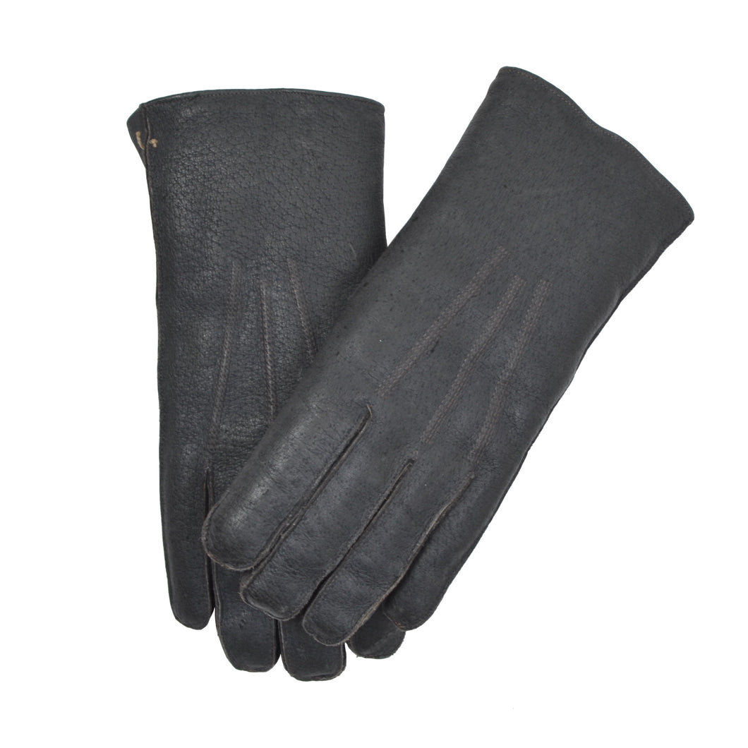 Shearling-Lined Leather Gloves Size 8.5 - Charcoal/Black
