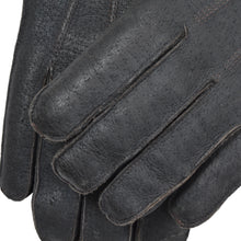 Load image into Gallery viewer, Shearling-Lined Leather Gloves Size 8.5 - Charcoal/Black
