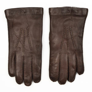 Wool-Lined Snap Out Deerskin Gloves Size 9 1/2 - Brown