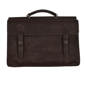 Double-Sided Water Buffalo Briefcase - Dark Brown