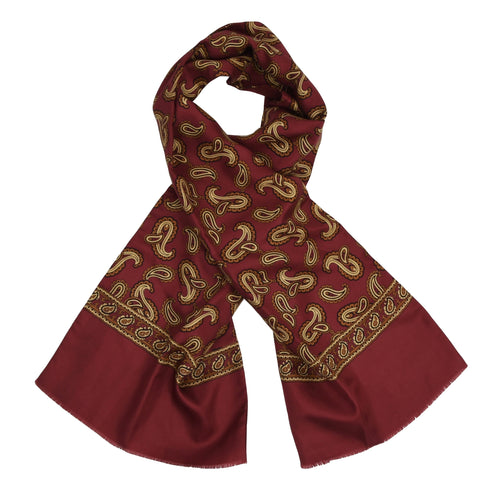 Double-Sided Silk/Wool Dress Scarf - Burgundy Paisley