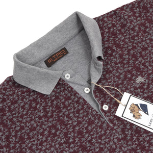 Etro Milano Palm Tree Polo Shirt Slim Size XL - Burgundy