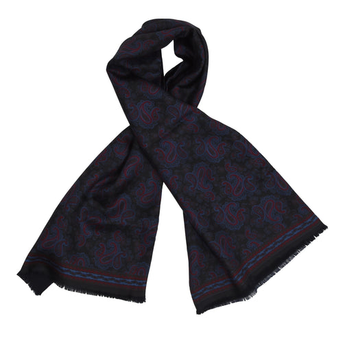 Double-Sided Silk/Wool Dress Scarf - Black Paisley
