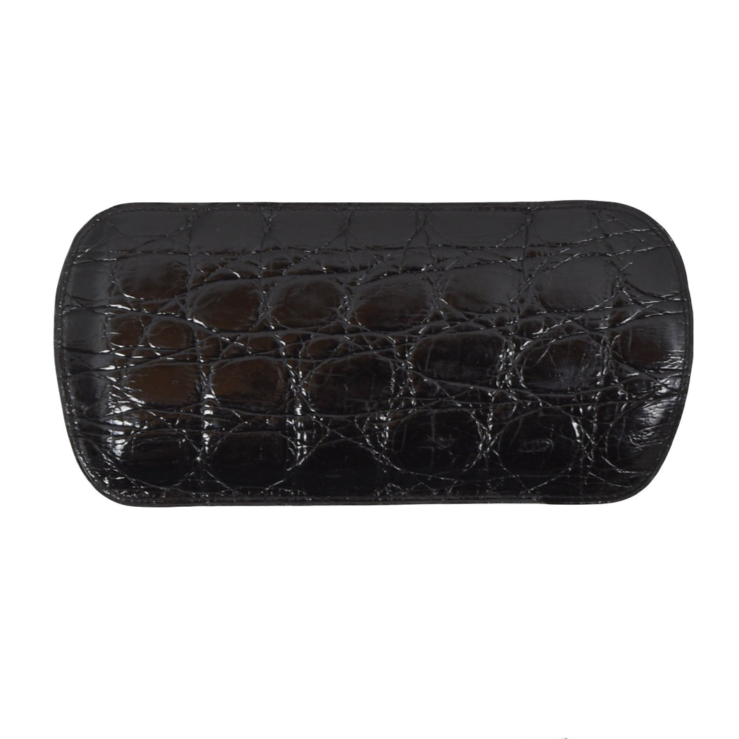 Genuine Crocodile Leather Sunglasses Case - Black