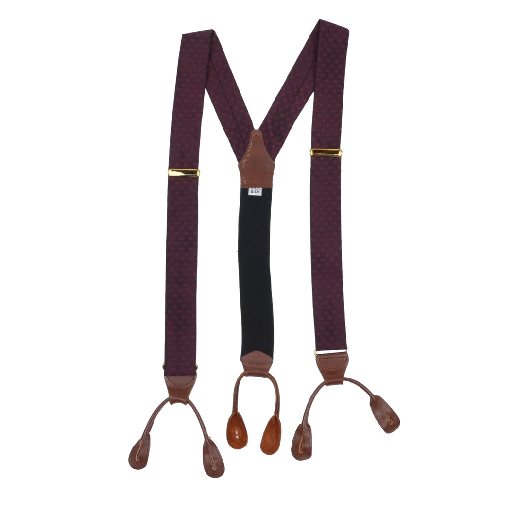 Classic 100% Silk Braces/Suspenders - Burgundy