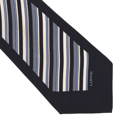 Lanvin Paris Striped Silk Tie - Navy Striped
