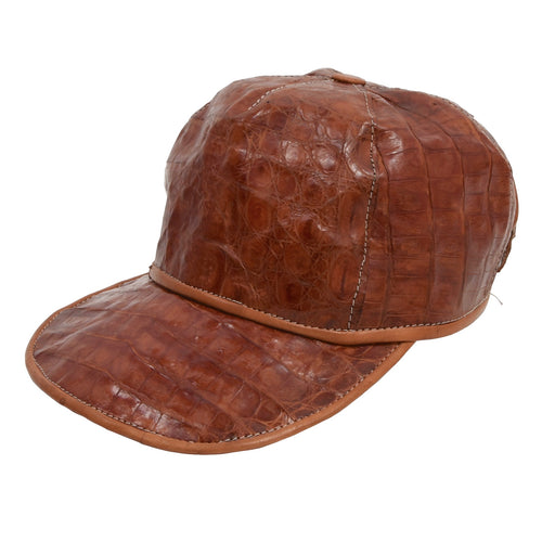 Genuine Caiman 5 Panel Hat - Cognac Brown