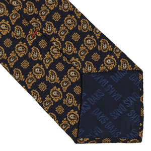 DAKS London Jacquard Silk Tie - Navy & Gold