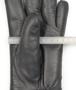 Shearling-Lined Lamb Nappa Gloves Size S - Grey