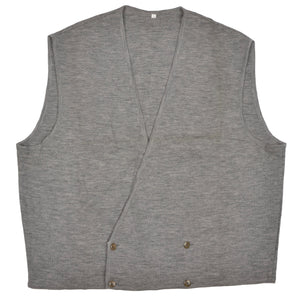 Wool Double-Breasted Waistcoat Sweater Vest by E. Braun & Co. XL - Grey