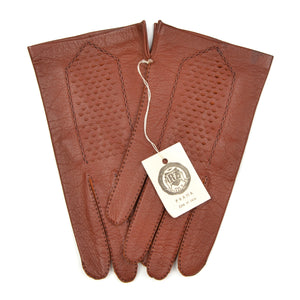 Unlined Vintage Leather Dress Gloves Size 8 3/4 - Rust