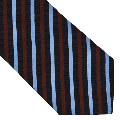 Ermenegildo Zegna Striped Silk Tie - Navy, Blue & Brown