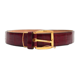 Genuine Crocodile Belt Size 100 - Burgundy-Fuchsia