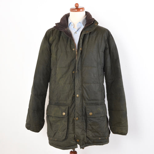 Barbour Hemmingford Quilted Waxed Jacket Size L - Green