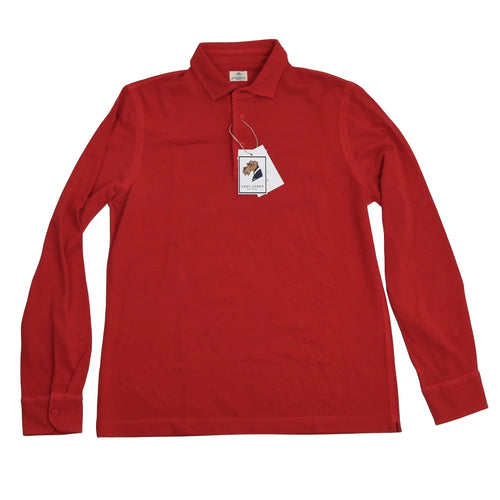 Luigi Borrelli Long Sleeve Polo Shirt Size 50 - Red