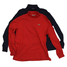 Load image into Gallery viewer, 2x Vintage Lacoste Cotton Turtleneck Sweaters Size 6 - Red & Navy Blue